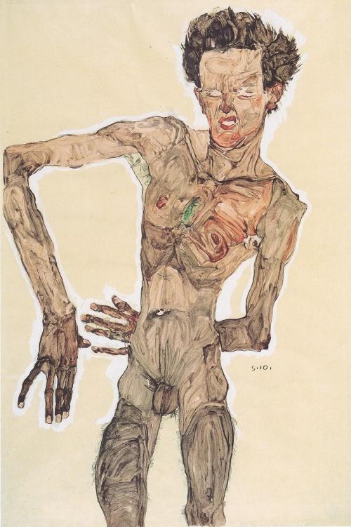 Naakt zelfportret met grimas - Egon Schiele