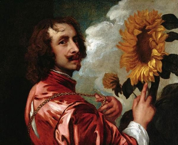 Zelfportret met zonnebloem - Antoon van Dyck