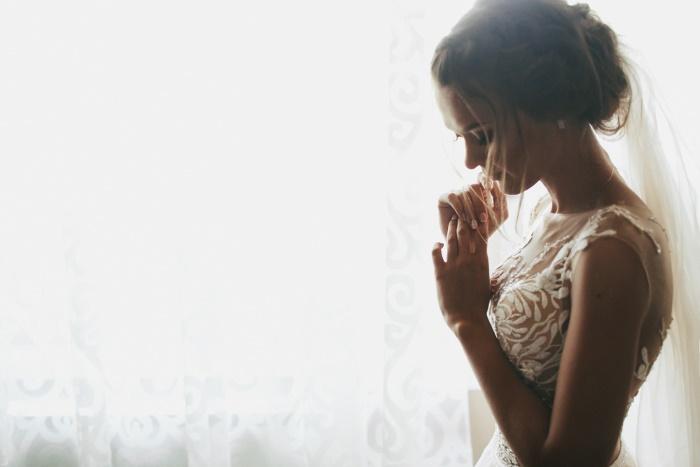 bruid zien voor het trouwen