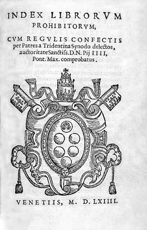 index librorum prohibitorum (verboden boeken)