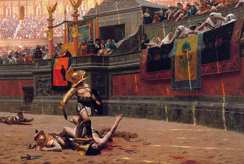 pollice verso - gladiaoren schilderij - duimpje omhoog