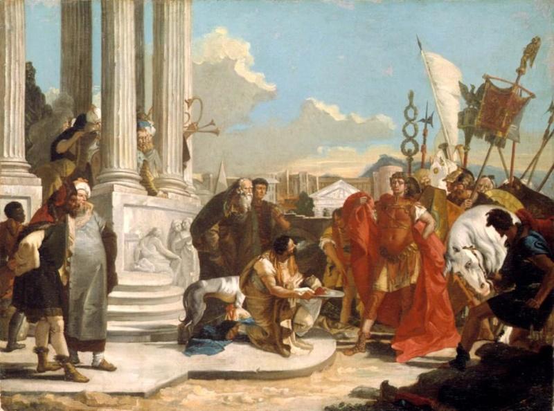 afgehakte hoofd van pompeius